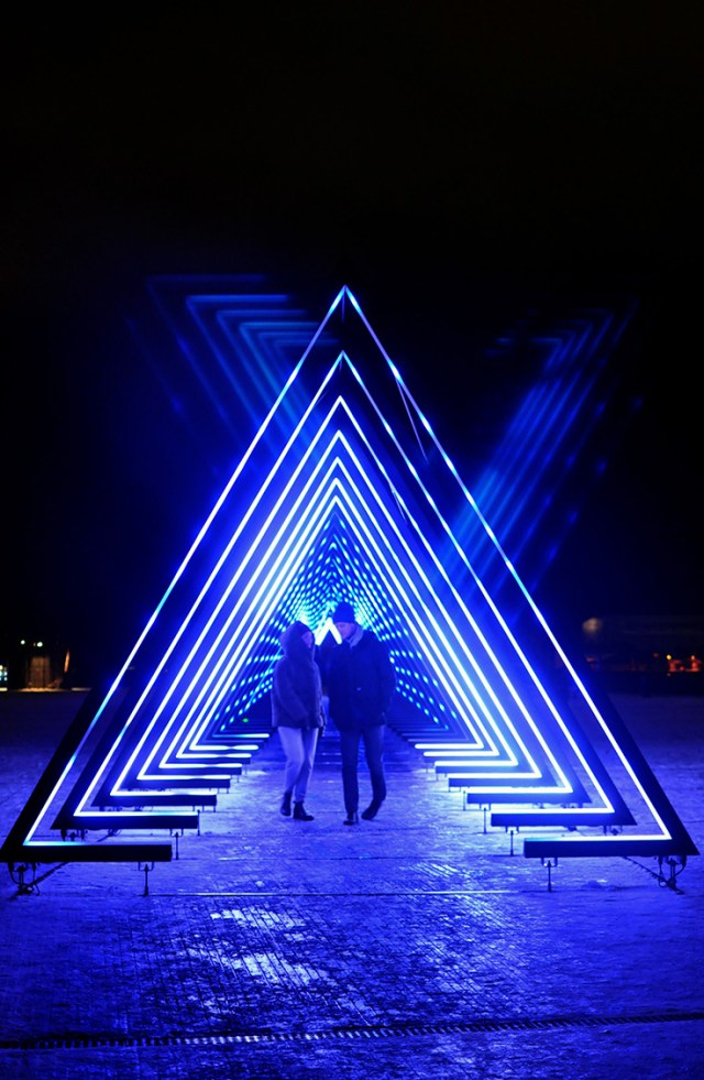 Interactive Light Installation The Wave at Ofelia Plads Copenhagen | Light Festival 2018 | Oregon Girl Around the World