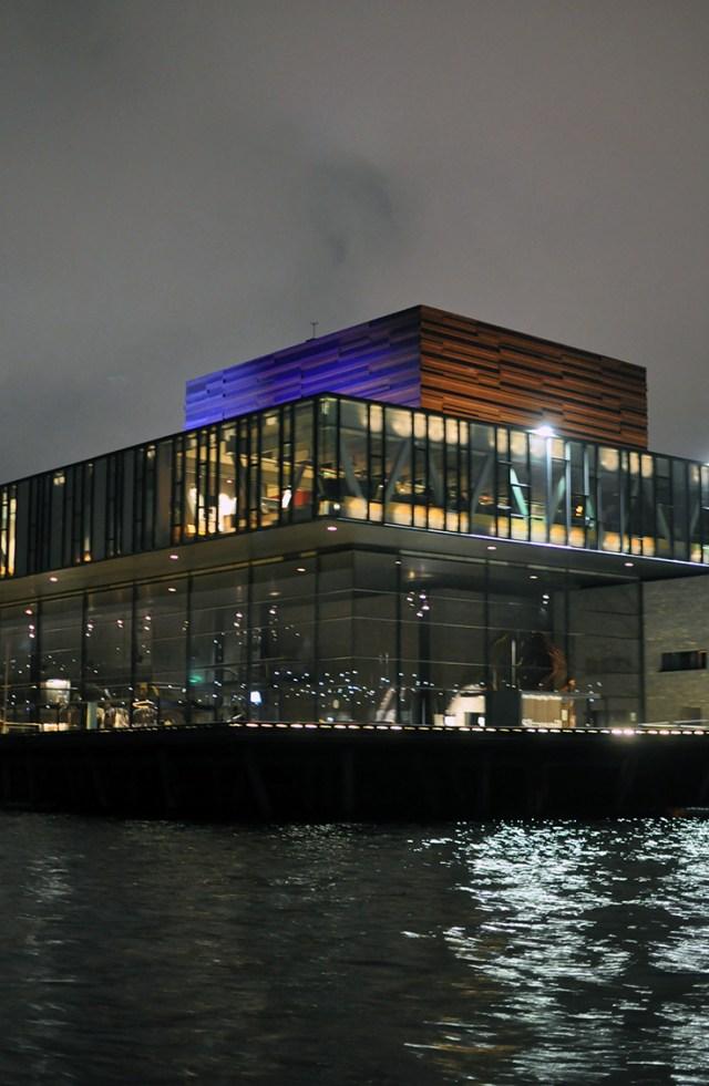 Royal Danish Playhouse | Skuespilhuset Teater lit up on the Copenhagen Harbor | Copenhagen Light Festival 2018 | Oregon Girl Around the World