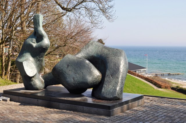 Henry Moore Sculpture and views to the Baltic Sea at Louisiana Museum Humlebæk Denmark