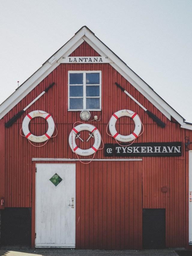 Red and white fishing cottage Tykerhavnen Hvide Sande Denmark