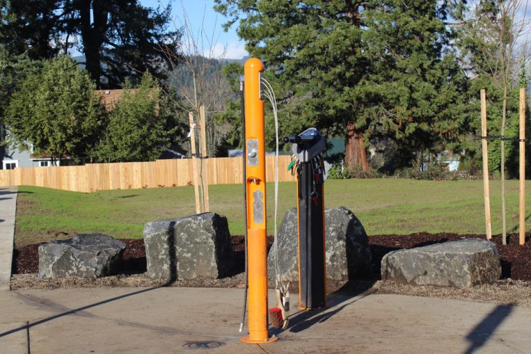 Bike Washing station at new hiking trail in Springfield