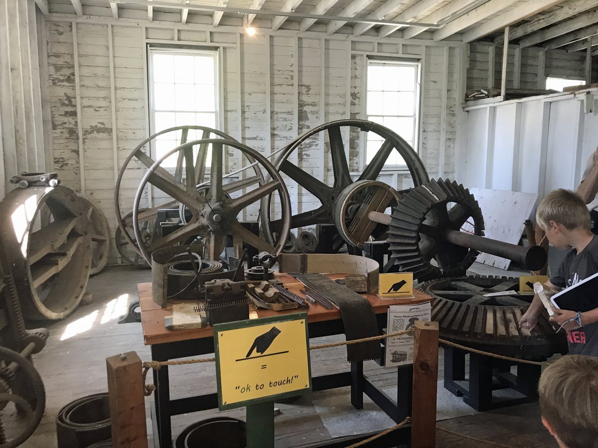 Giant wheels and gears that ran the machinery at Thompson's Mill