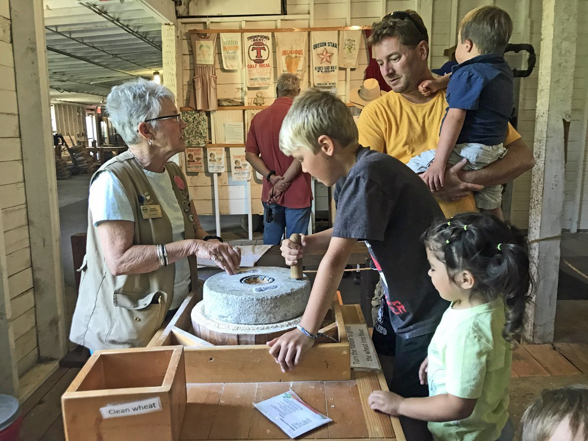 My kids grind their own flour at Thompson's Mill