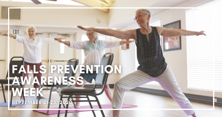 "Two seniors practice yoga. Text in the foreground reads ""Falls Prevention Awareness Week."""