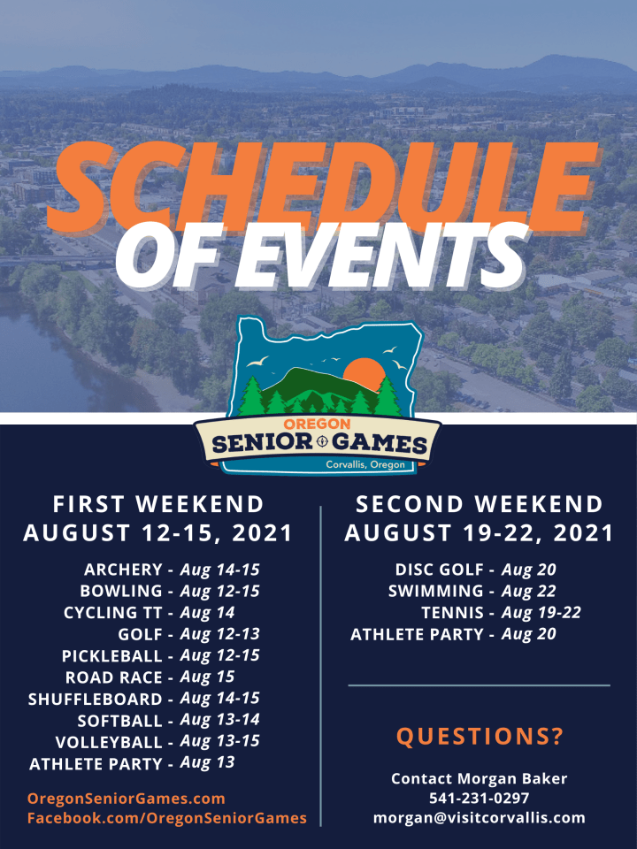 Oregon Senior Games Schedule of Events for August 12-15, 2021 and August 19-22, 2021. See text below image for written schedule.