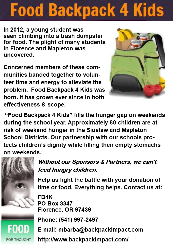 Food Back Pack for Kids