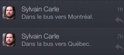 Deux tweets de Sylvain Carle le 23 septembre 2016
