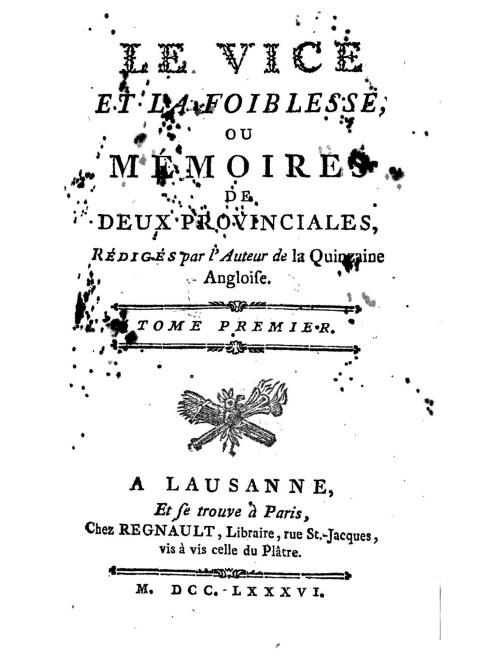 [Jean-Jacques Rutlidge], le Vice et la foiblesse, 1786, couverture