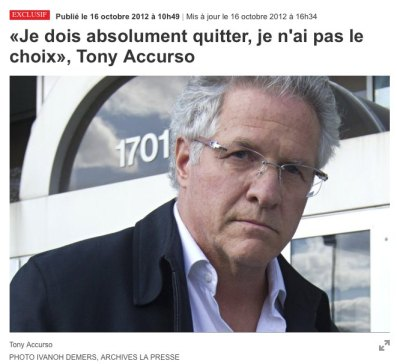 Tony Accurso «quitte»