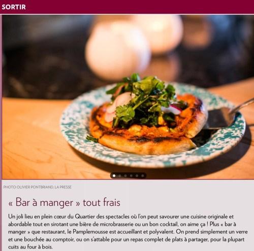 «Bar à manger», La Presse+, 16 juin 2018
