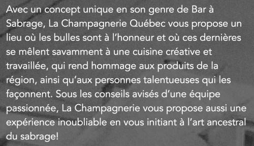 La Champagnerie, bar à sabrage, Québec