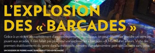 «Barcade», la Presse+, 17 avril 2016