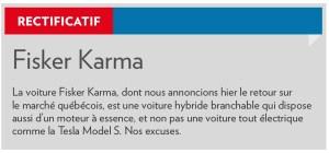 La Presse+, 21 août 2015, rectificatif