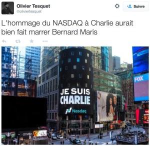 «Je suis Charlie», Nasdaq, New York, janvier 2015