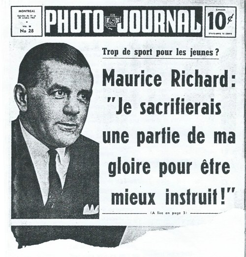 Maurice Richard en première page de Photo journal (21-28 octobre 2014)