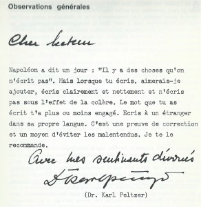 Karl Peltzer, la Lettre modèle, 1970, p. 11