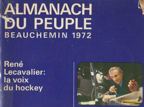 Photo de René Lecavalier, Almanach du peuple Beauchemin 1972, couverture