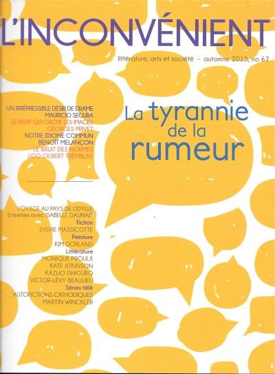 L'Inconvénient, 62, automne 2015, couverture