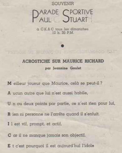 Jeannine Goulet, «Acrostiche sur Maurice Richard», années 1940, première strophe
