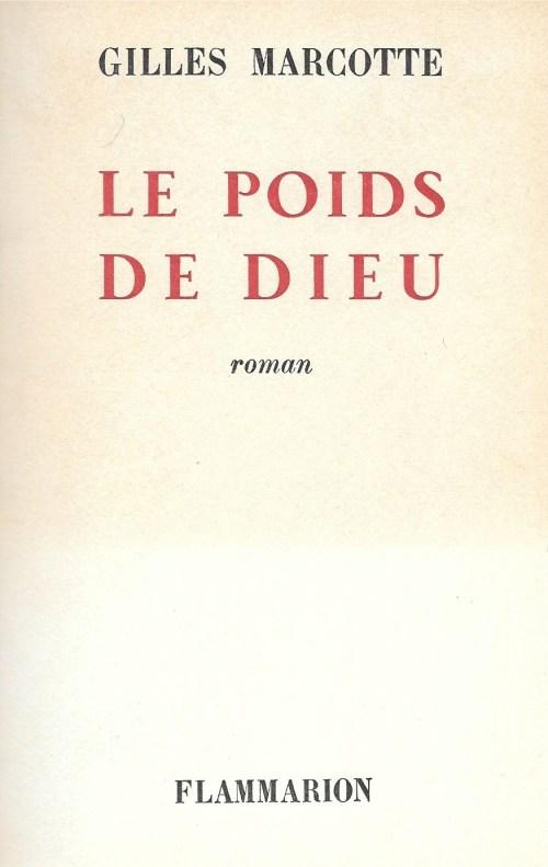 Gilles Marcotte, le Poids de Dieu, 1962, couverture