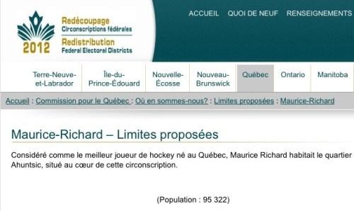 Proposition de création d'une circonscription fédérale Maurice-Richard, 2012