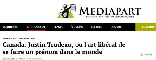 Mediapart, 8 avril 2017, manchette