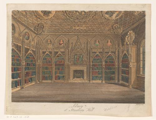 Intérieur de la bibliothèque d'Horace Walpole, gravure, 1784