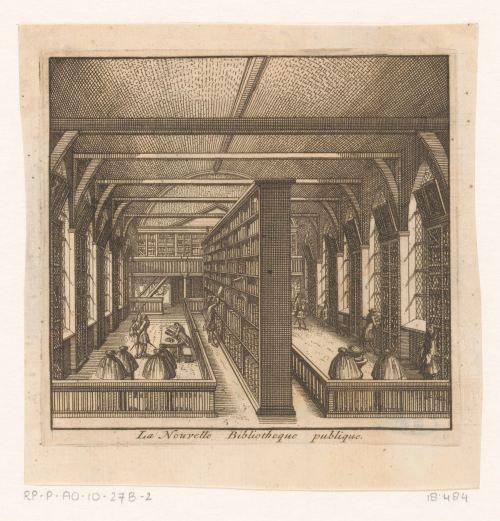 Bibliothèque publique de Leiden, gravure anonyme, 1712