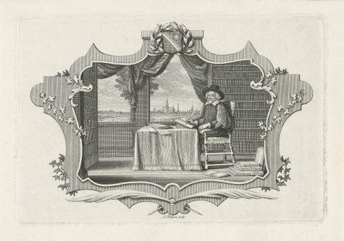 Un savant dans sa bibliothèque, gravure de Jacob Folkema (1702-1767), Rijksmuseum, Amsterdam