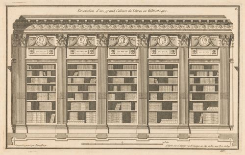 «Décoration d'un grand cabinet de livres ou bibliothèque», gravure, 1767