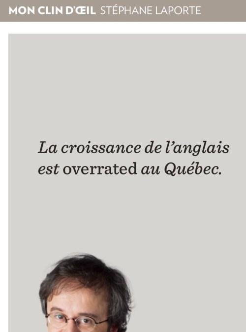 Stéphane Laporte, la Presse+, 18 août 2017