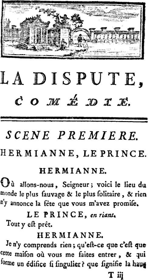 Marivaux, la Dispute, édition de 1754, première page