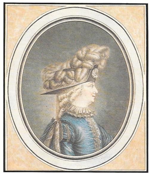 Le Mariage de Figaro, 1784, Mlle Olivier dans le rôle de Chérubin, gravure de Coutellier