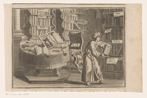 Un homme dans son étude, gravure, 1750