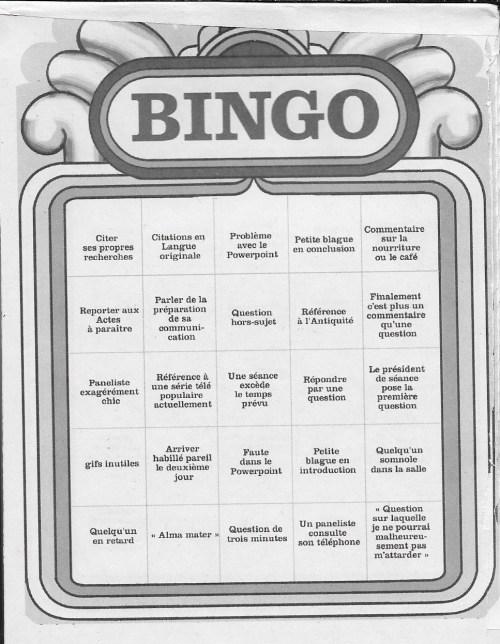 Bingo de colloque, première carte