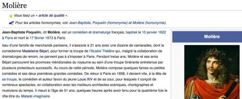 Article «Molière», Wikipédia