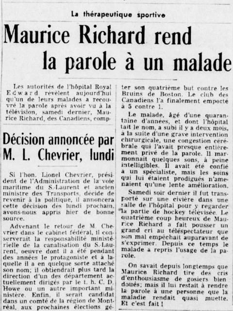 «Maurice Richard rend la parole à un malade», la Presse, 13 avril 1957, p. 27
