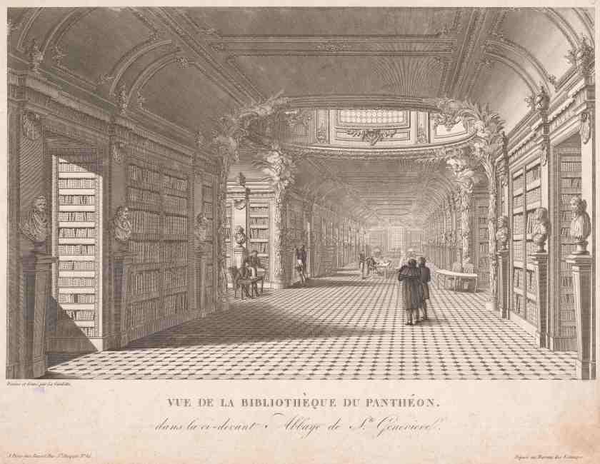 Vue de la bibliothèque du Panthéon, gravure