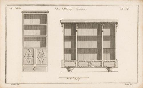 «Petites bibliothèques ambulantes», gravure de Jean-Baptiste Bichard, 1772-1779