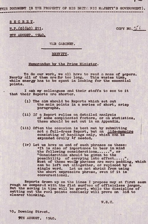 Lettre de Churchill, 9 août 1940