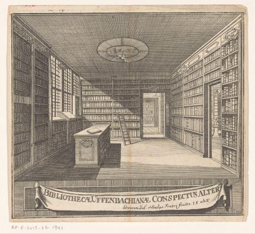 Bibliothèque de Zacharias Conrad von Uffenbach, gravure de Johann Friedrich von Uffenbach, 1729-1731