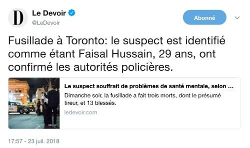 Tweet, le Devoir, 23 juillet 2018