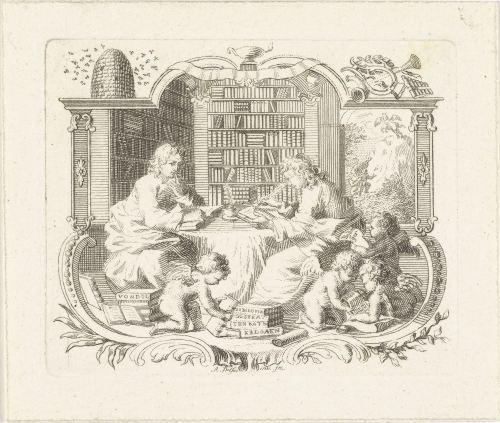 «Deux jeunes lecteurs dans une bibliothèque», gravure d'Abraham Delfos (1741-1820)