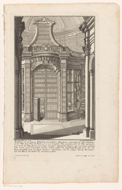 Bibliothèque et cabinet de curiosité, gravure de Balthasar Sigmund Setletzky, 1724