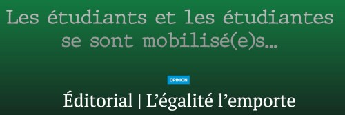 «L'égalité l'emporte», titre du Montréal campus, 11 février 2019