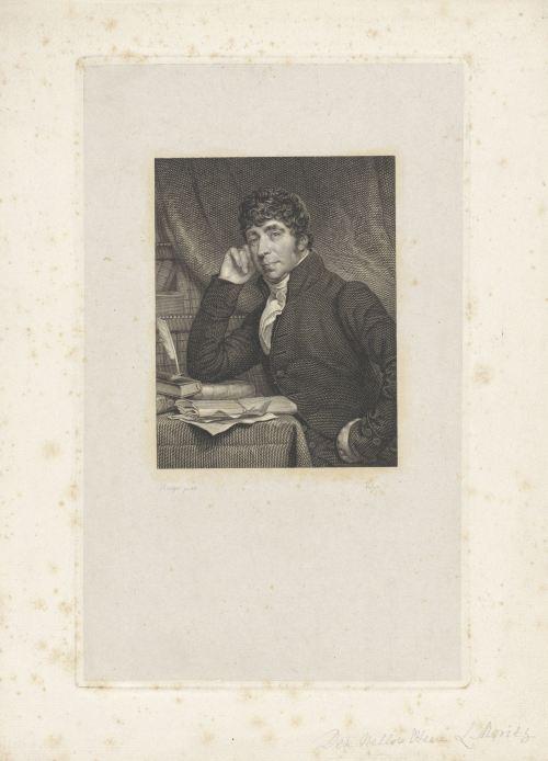 «Portrait de Willem Bilderdijk à son bureau», gravure de Philippus Velijn