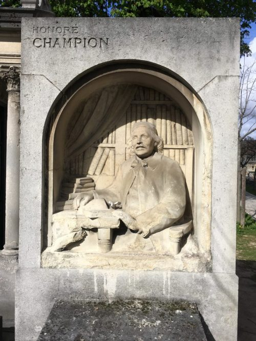 Tombe d'Honoré Champion, cimetière Montparnasse, Paris, avril 2019