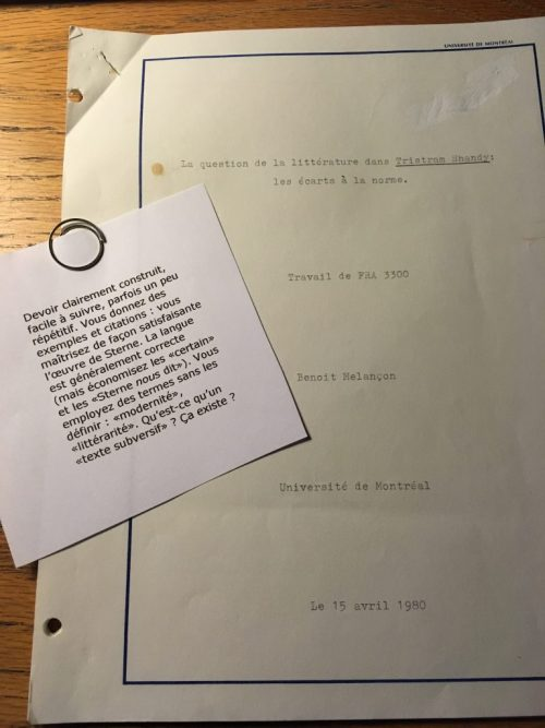 Benoît Melançon corrige une copie de Benoît Melançon