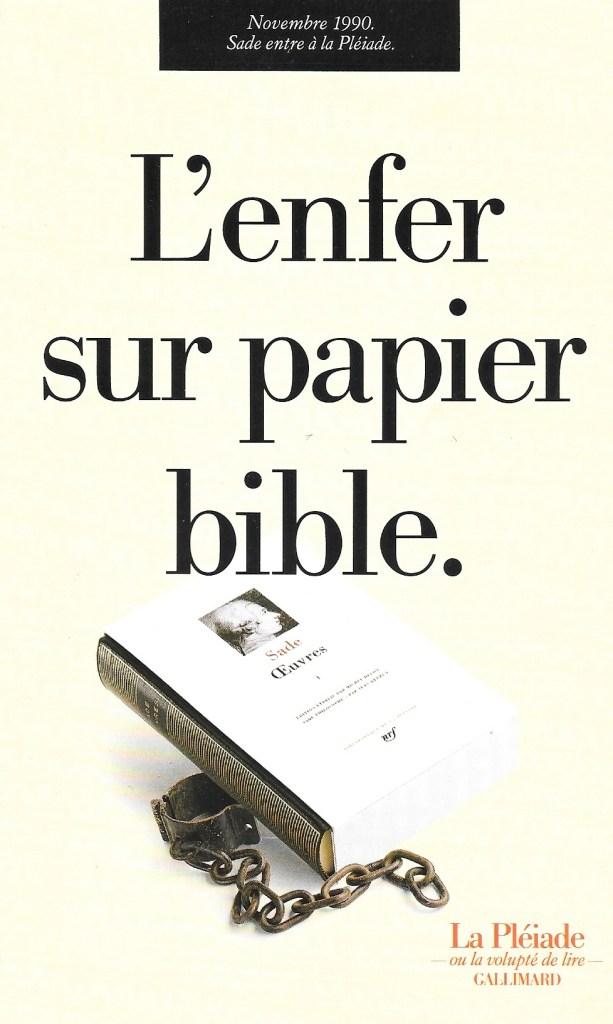 «L'enfer sur papier bible», publicité, Gallimard, 1990