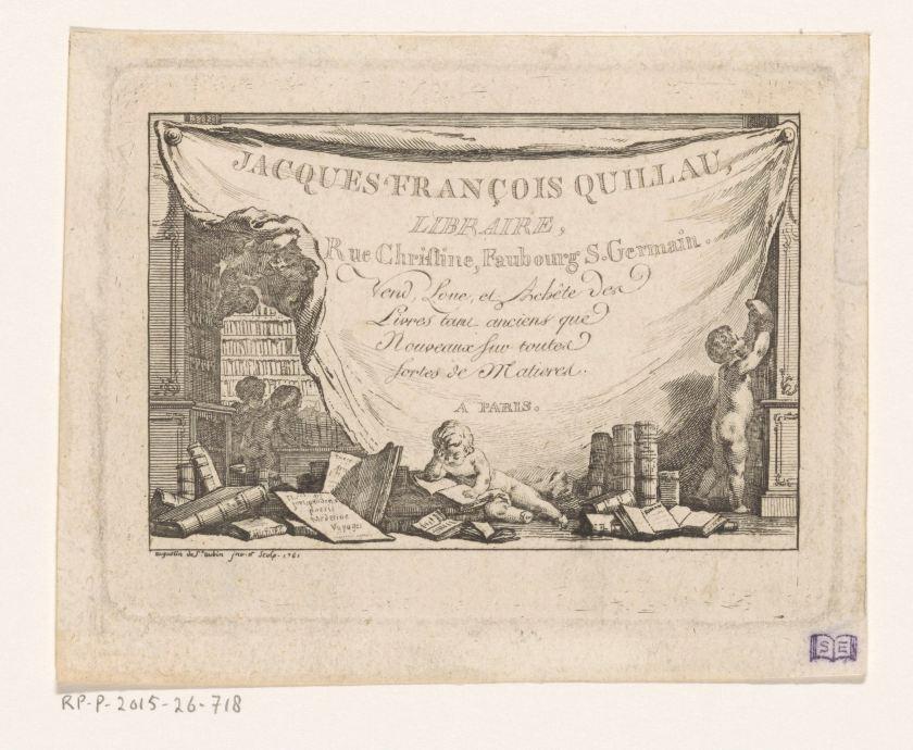 Jacques-François Quillau, libraire, carte de visite, 1761